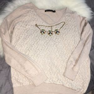 Outback red beige sweater with lace detail l